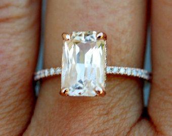 Polvo rosa anillo de compromiso 14k Rose oro anillo de