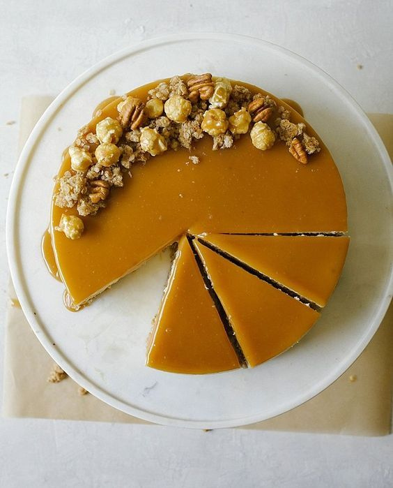 The brown sugar cheesecake boasts a sweet and salty oatmeal crust and a gooey butterscotch sauce. -- Visit the image link for more details. #cookingtricks