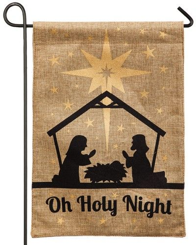 This rugged burlap, Jesus, Mary and Joseph, manger scene garden flag is encrusted with sparkling, gold glitter that glistens and glints in the sunlight. The black silhouettes on the burlap background