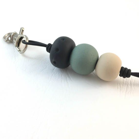Necklace lanyard polymer clay khaki black and beige by Berjique