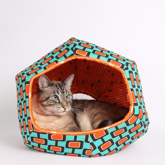 the Cat Ball on Etsy - in mid-century modern contrasting color teal and orange fabric