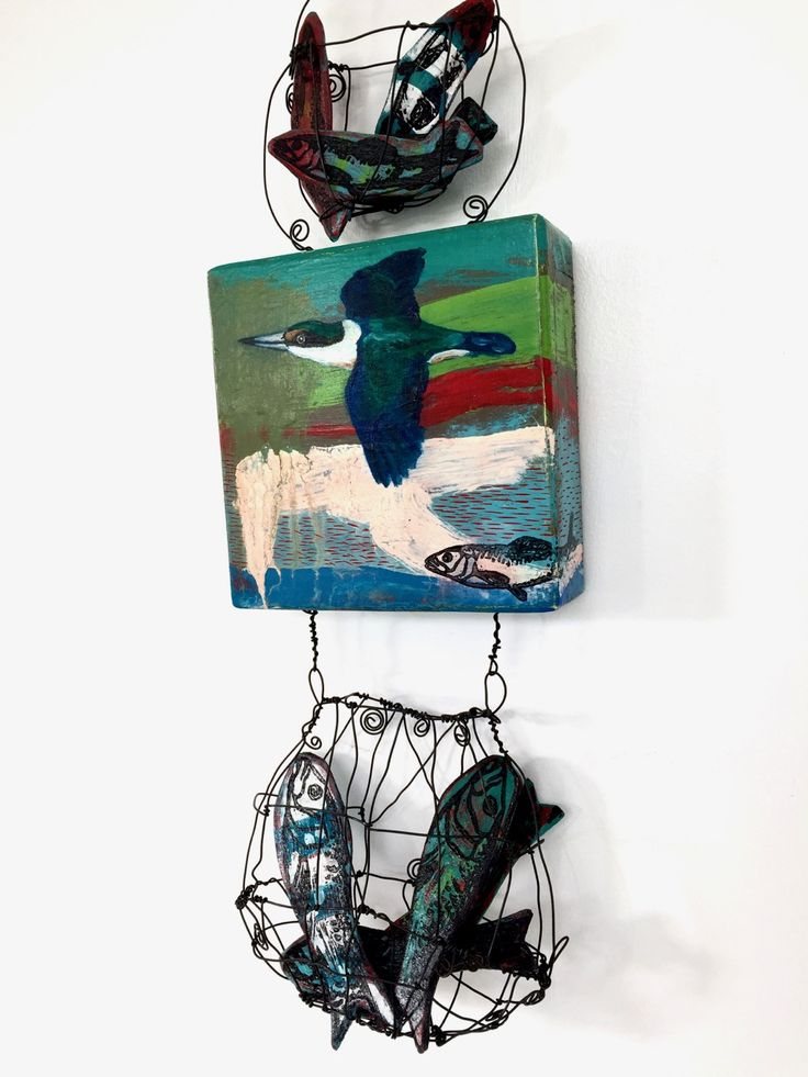 """Ateleir de Joie Sacred Kingfisher -fishing hole"""" Mixed media on wood panel $300 Watching the Kingfisher precisely and accurately find its food is breathtaking.  The purpose of the mixed media approach was to give meaning to the daily routine for these beautiful birds."""