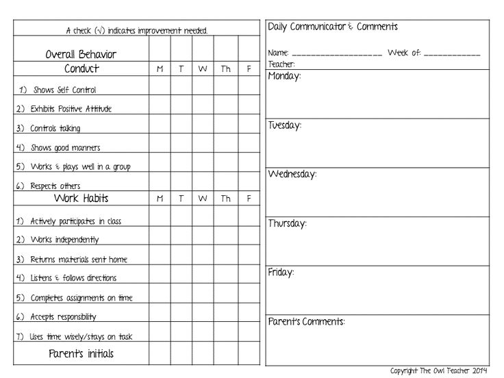 Best  Daily Behavior Report Ideas On   Weekly