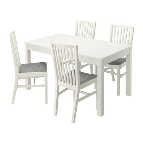 BJURSTA / NORRNÄS Table and 4 chairs, white, Isunda grey