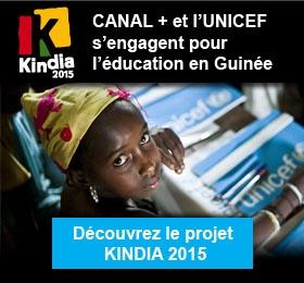 http://www.unicef.fr/contenu/actualite-humanitaire-unicef/kindia-2015-l-unicef-et-canal-relevent-le-defi-du-developpement-en-guinee-2012-10-23. Canal+ s'engage pour quatre ans sur le projet de développement mené par l'UNICEF et d'autres organisations dans la région de Kindia, en Guinée.