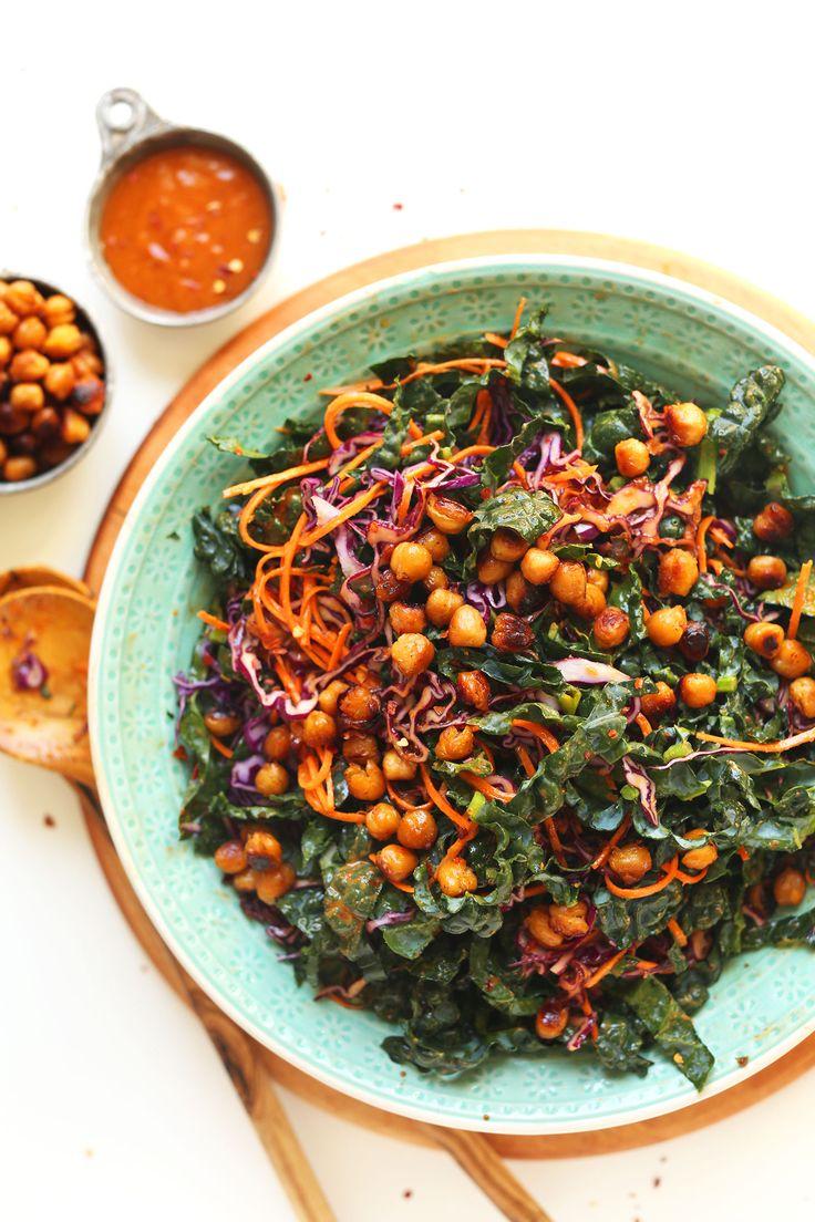 EASIEST Asian Kale Salad with Crispy MISO Chickpeas!