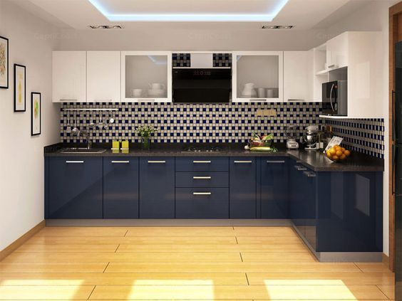 Blue Berry L-shaped Modular Kitchen