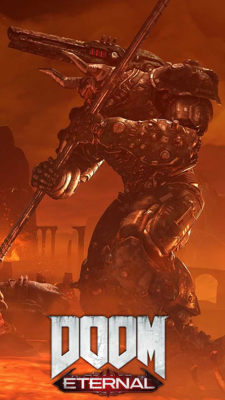 Doom Eternal Wallpaper Hd Phone Backgrounds Game Logo Art Monsters On Iphone Android Lock Screen Hd Phone Backgrounds Phone Backgrounds Phone Wallpaper