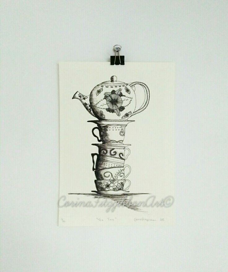 """Tea Time"" Gilcee Art Print now available on my Etsy shop!  Alice in Wonderland, Tea time, Tea, Tea Party, Wall Art, Wall Décor, Illustration, Art Print, Tea obsessed, Tea lover, Time for tea, Tea pots, Vintage, Vintage teapots, Art Print, Print, Drawing, Sketch, Irish art, Irish artist, Mad Hatter tea party, Kitchen art, Etsy, Etsy shop,Etsy find, Etsy seller, Art on etsy, Vintage cups, Vintage Tea set, Tea set. CorinaFitzgibbonArt© All Rights Reserved."
