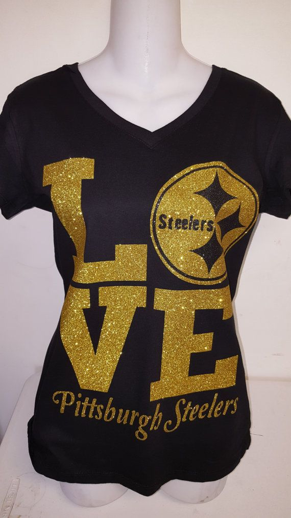 Love Pittsburgh Steelers, Cute shirt for women, Glitter Tshirt, Football fan…