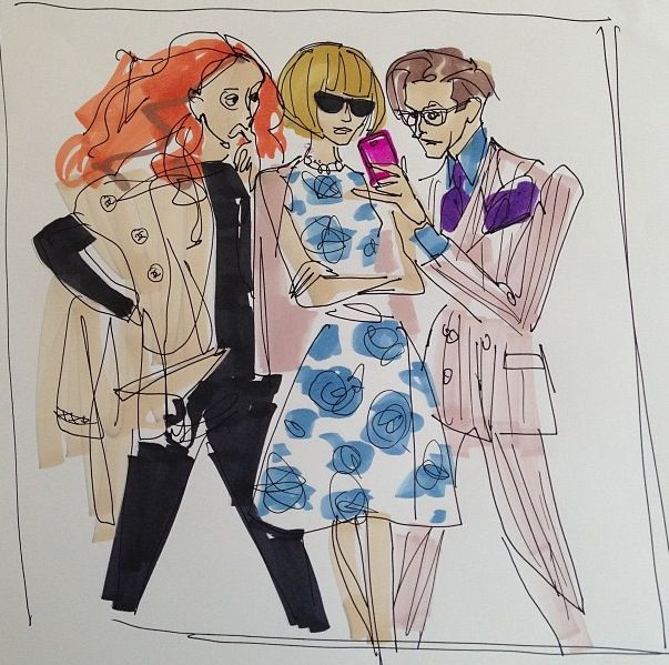 Grace Coddington, Anna Wintour, & Hamish Bowles debate the Virtues of Mitford, the New Intern , by Donald Drawbertson, via Instagram. Fashion Illustration, Fashion Sketch.