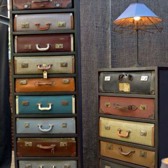 Very cool way to utilize old suitcases....which I oddly love.