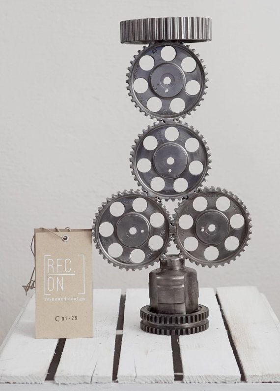 Unique stand made of wheels releases and cogs by RECONrenewed