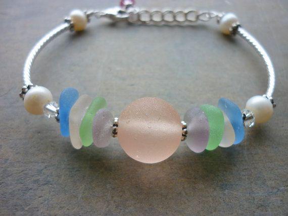 Sea Glass Bracelet - Pink Marble Cotton Candy Beach Seaglass