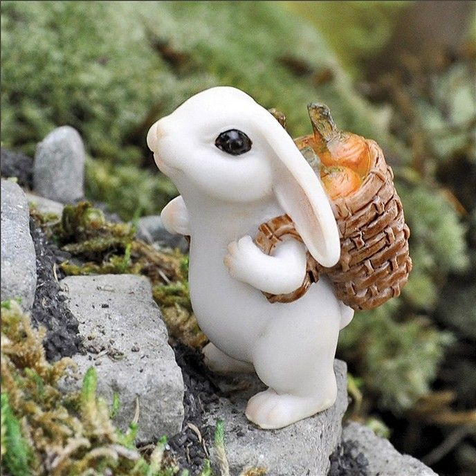 Bunny with Carrots - very cute  accessory for a fairy garden!