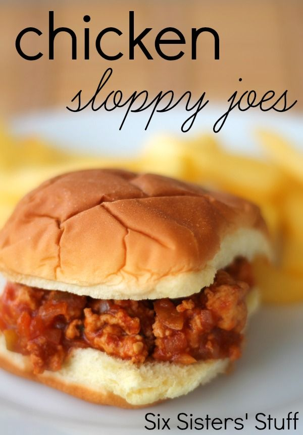 Chicken Sloppy Joes from SixSistersStuff.com.  A quick meal your whole family will love! #recipes #dinner #chicken #food