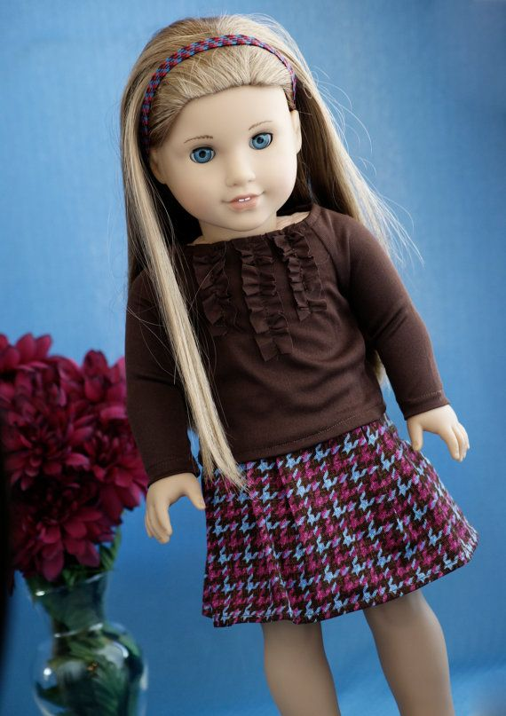 American Girl Doll Clothes 18'' Pleated Houndstooth Skirt and Ruffle Brown Knit Shirt