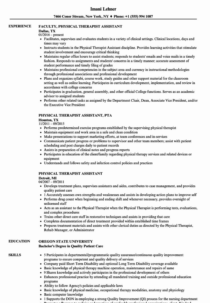 Physical therapy Student Resume Fresh Physical therapy