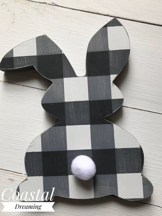 Buffalo Check Easter Bunny Hand Painted Shape Black White Gray White Bunny Tail Easter Decor Wooden Shape Easter Wood Signs Bunny Decor Spring Easter Decor