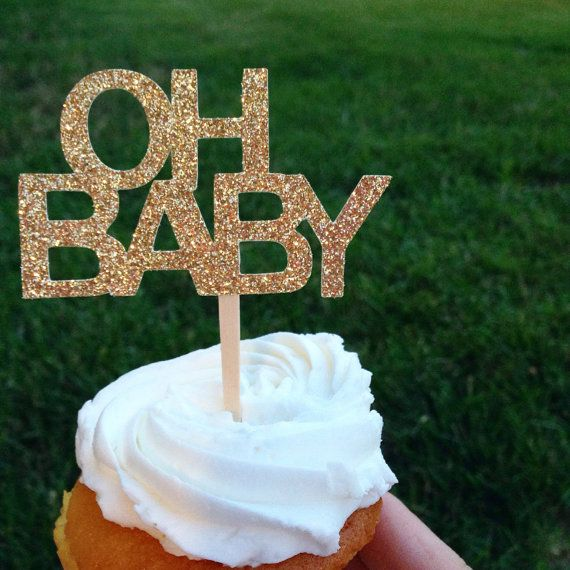 These OH BABY glittery gold cupcake toppers are perfect for your next baby event! This listing is for 12 toppers. Each topper is cut from glittery gold