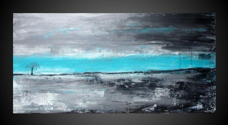 Peinture tableau oeuvre art abstrait sur toile turquoise for Gris turquoise peinture