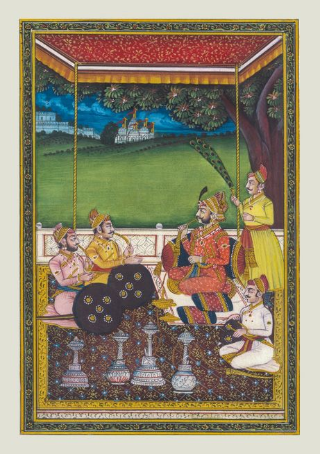 Maharana Sajjan Singh of Mewar dynasty - His royal majesty with his advisors outside courtroom Dimensions - 5X8 inches Painting on silk. Contact KalaCafe to buy