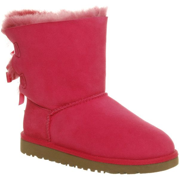 UGG Australia Bailey Bow 13-4 ($85) ❤ liked on Polyvore featuring shoes, uggs, cerise, nubuck shoes, ugg australia, bow shoes, nubuck leather shoes and ugg® australia shoes