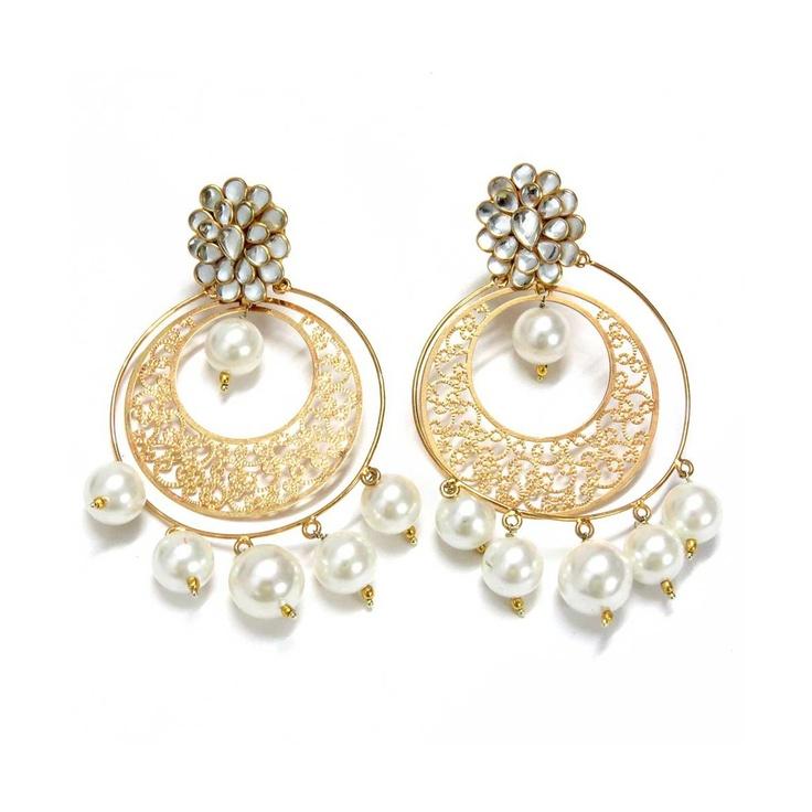 Pachi Work Studs With Filigree Chand Bali Earrings by Dorri