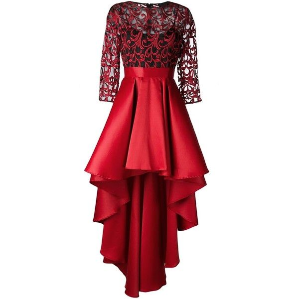 Christian Pellizzari high low skirt dress (1,216 CAD) ❤ liked on Polyvore featuring dresses, red, mullet dress, red high low dress, red cocktail dress, short and long dresses and hi lo dress