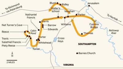 Map: Nat Turner's Rebellion