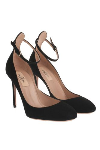 Valentino black ankle strap heels pumps