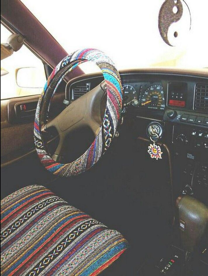 Boho seat cover and steering wheel cover