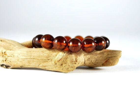 Genuine Baltic Amber Bracelet 12 mm Beads Dark by AmberAndMore