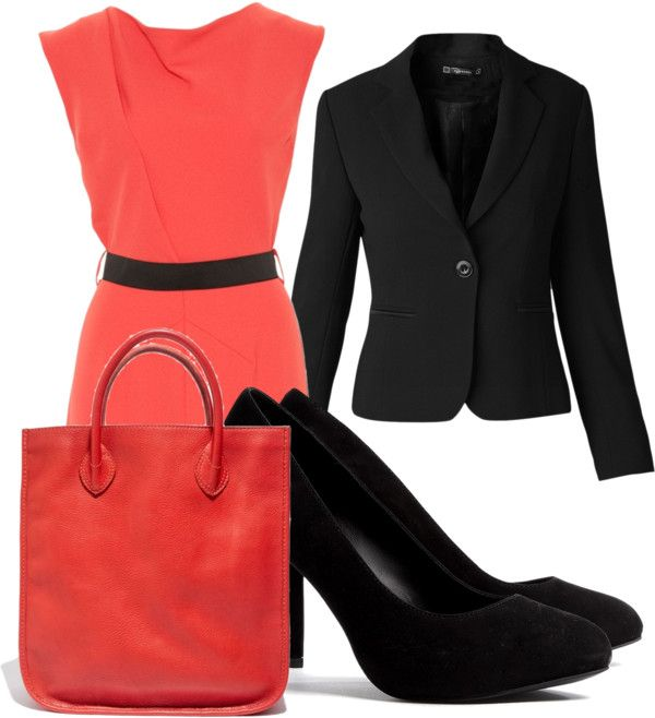 """Peach and Black Business Outfit"" by marissa-anne-weddle on Polyvore"