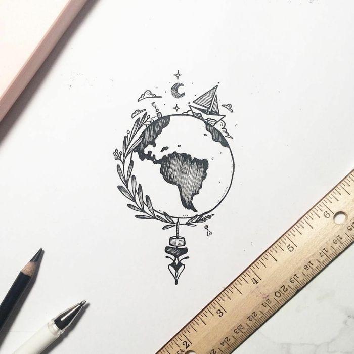 Einfache geometrische Zeichnung einfache Idee, wie man die runde Welt zeichnet