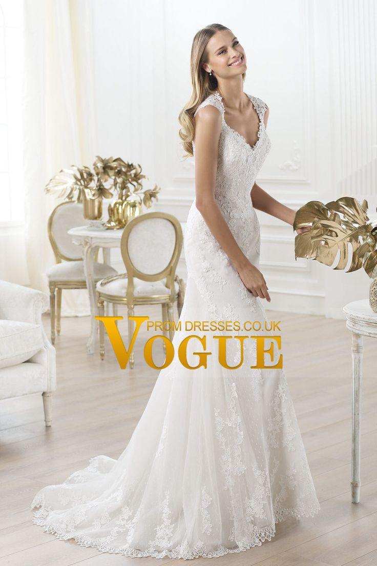 Charming 2014 New Arrival Wedding Dresses V Neck Straps Mermaid/Trumpet Court Train