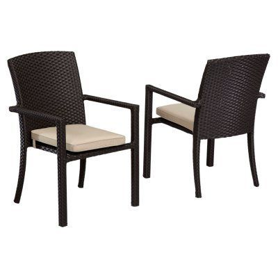 Outdoor Sunset West Solana Wicker Patio Dining Chair with Cushion - 1501-1-5422, SUNW076