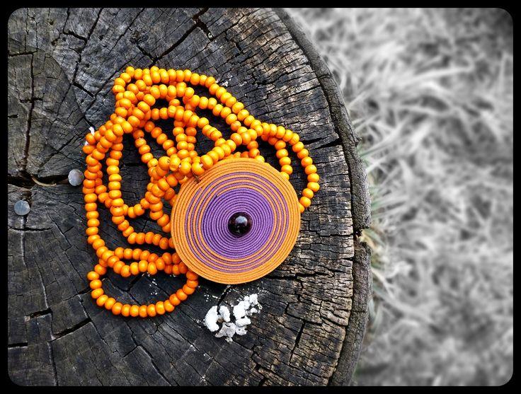 Orange and purple leather and wood #neklace