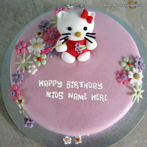 Write Name On Kitty Birthday Cake For Kids Happy
