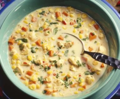 Fresh homemade corn chowder soup with corn, bell peppers and carrots - Fresh homemade corn chowder photo by Jupiter Images / Getty Images