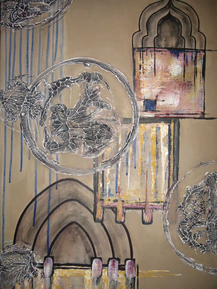 Light Cages 4- mixed media on canvas 50x70cm