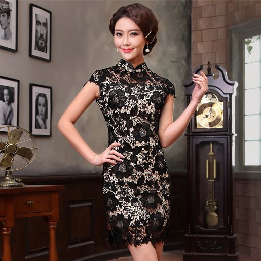 Black lace cream lined mini summer qipao short Chinese mandarin collar dress XGT-G13421-208-001