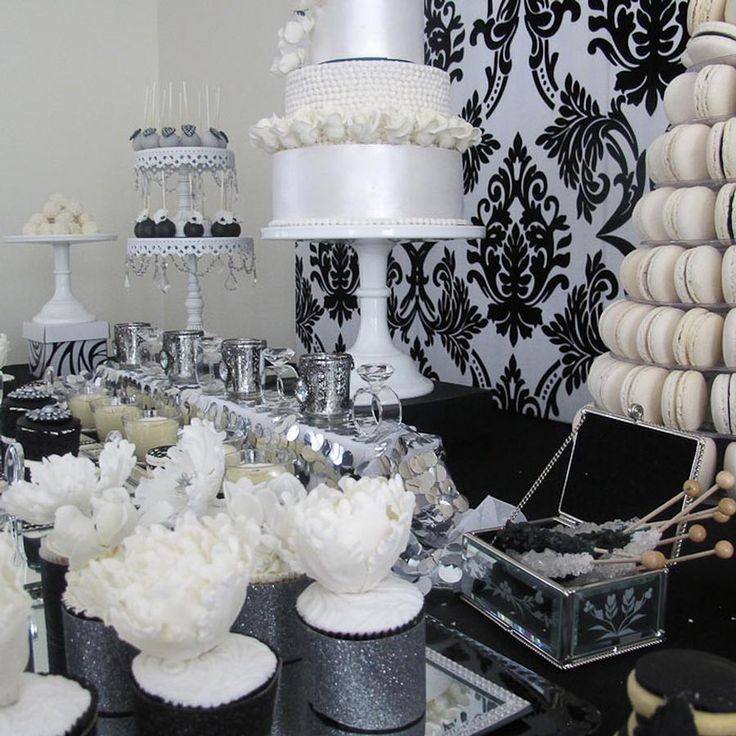 hostess with the mostess glamorous black and sliver and white dessert table