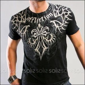 Popular+Clothes+for+Men | Affliction Clothing - Men's Skeleton S/S Crew Neck Tee in Black A1094