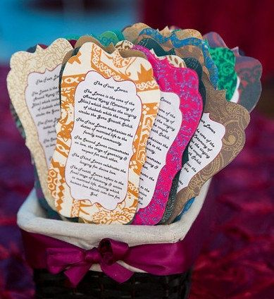 Handmade Indian Inspired Wedding Program Fan with the Four Lavan Meanings [Set of 25],Punjbai Wedding Program,Sikh Wedding Fan,Four Lavan