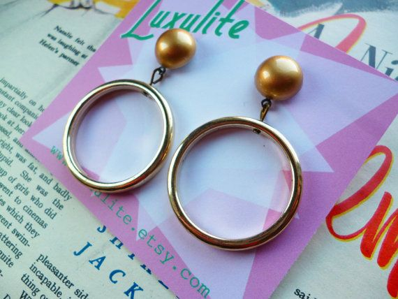 Channel your inner 1950s Starlet with these earrings which are handmade by me...  These super-versatile earrings feature domed goldtone tops with lightweight golden tone drop hoops. Team these bad boys with your 1950s sweater or cocktail dress for that perfect vintage style finishing touch!  The total length of the earrings is 5cm  These earrings can be finished as posts or clip-ons.  Earrings will arrive mounted on a lovely card, neatly wrapped, making them perfect for gifts!  x