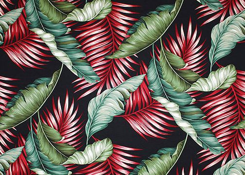 Banana leaf black tropical botanical vintage hawaiian for Retro space fabric uk