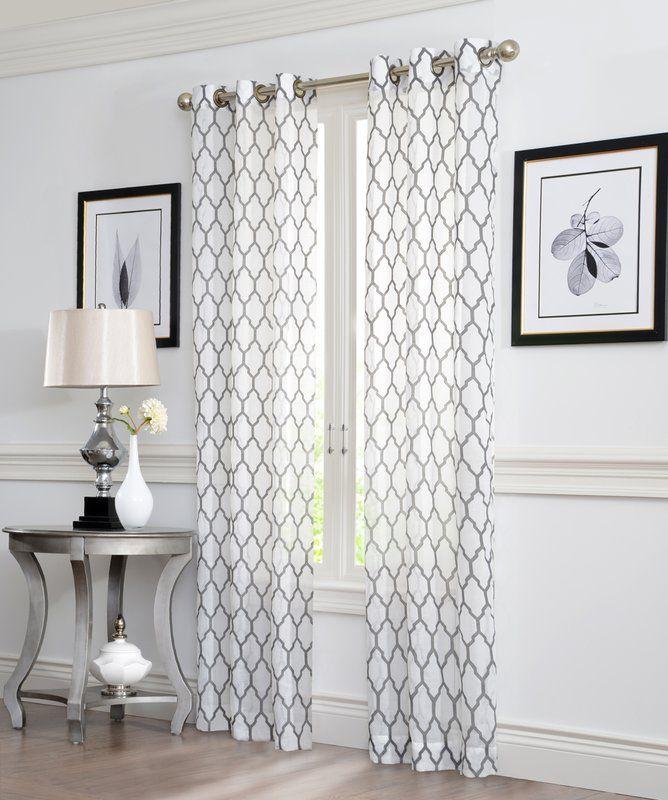 Geo Flocked Geometric Semi Sheer Curtain Panels Panel Curtains