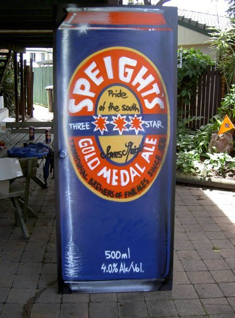 Does your #mancave have a beer can for a door? #beer #Speights #forthehome #aerosolart #ale #kiwi #NewZealand #NZ