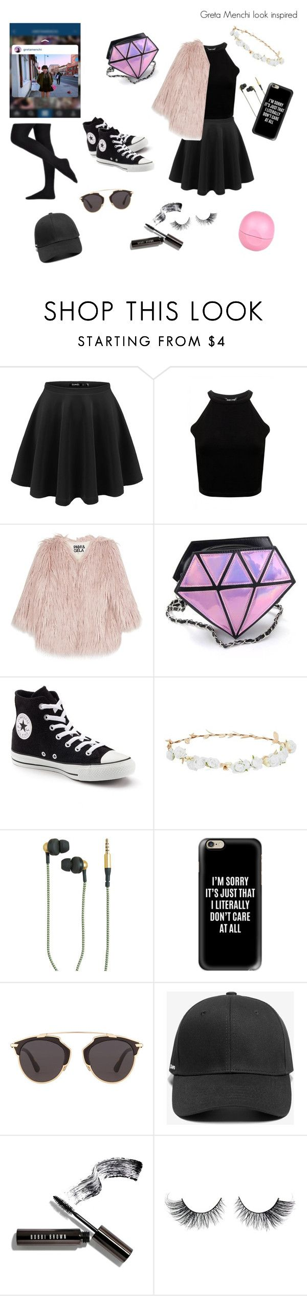 """""""Popular youtuber in italy, greta menchi look inspired"""" by gioppins ❤ liked on Polyvore featuring Pam & Gela, Converse, Robert Rose, Kreafunk, Casetify, Christian Dior, Bobbi Brown Cosmetics and River Island"""